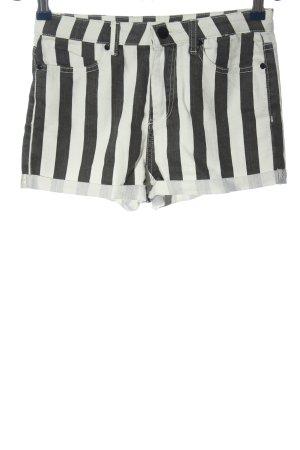 Denim Co. High-Waist-Shorts schwarz-weiß Streifenmuster Casual-Look