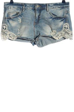 Denim Co. Hot pants blauw-wit casual uitstraling