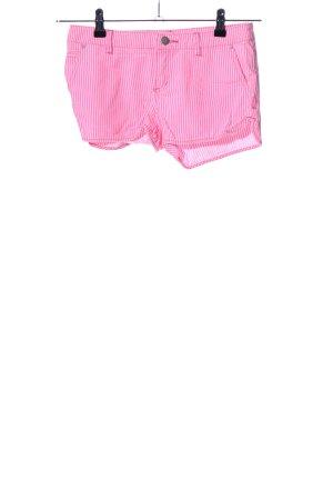 Denim Co. Hot Pants pink-weiß Streifenmuster Casual-Look