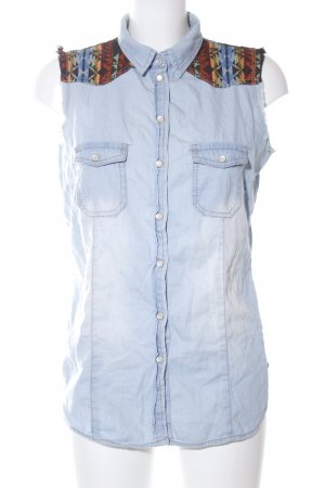 Denim Co. Jeansbluse blau-hellorange abstraktes Muster Casual-Look