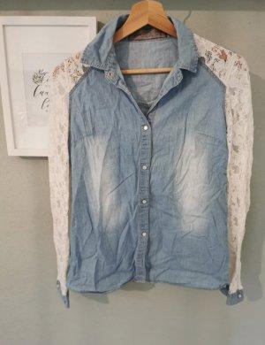 Denim Co. Blouse en jean blanc-bleu clair