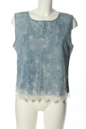 Denim Co. Blouse en jean bleu-blanc imprimé allover style décontracté