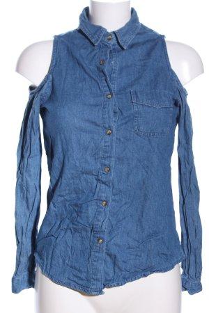 Denim Co. Jeansbluse blau extravaganter Stil