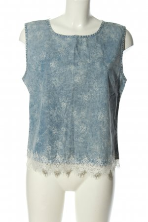 Denim Co. Jeansbluse blau-weiß Allover-Druck Casual-Look