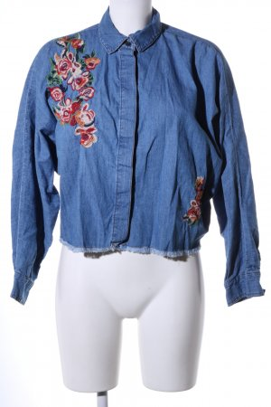 Denim Co. Denim Shirt blue flower pattern casual look
