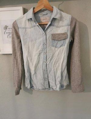 Denim Co. Blouse en jean gris clair-bleu azur