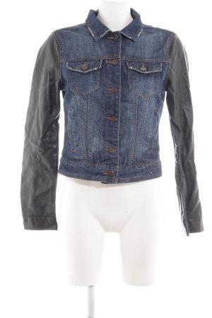 Denim Co. Jeansjacke schwarz-blau Jeans-Optik