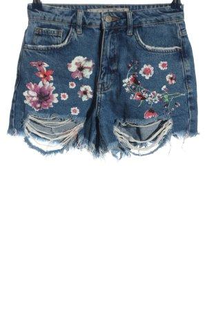Denim Co. Pantalón corto de tela vaquera estampado floral look casual