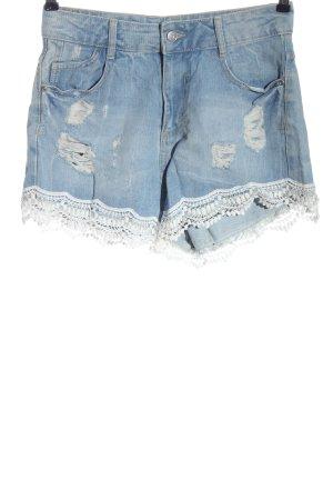 Denim Co. Pantalón corto de tela vaquera azul-blanco look casual