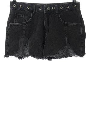 Denim Co. Short en jean noir style décontracté