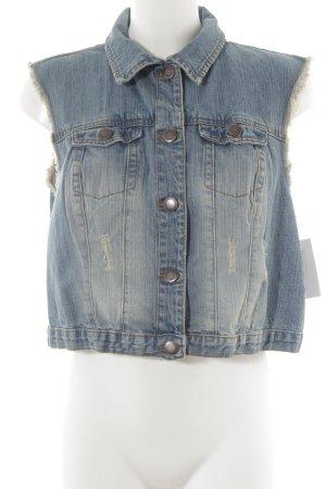 Denim Co. Jeansweste weiß-himmelblau Jeans-Optik