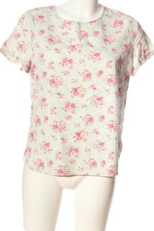 Denim Co. Kurzarm-Bluse hellgrau-pink Allover-Druck Casual-Look