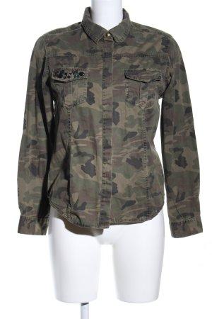 Denim Co. Langarm-Bluse khaki-braun Camouflagemuster Casual-Look