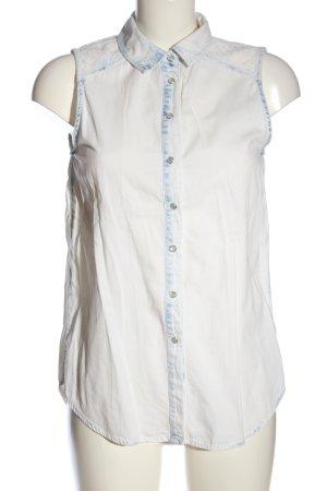 Denim Co. Long-Bluse weiß-blau Street-Fashion-Look