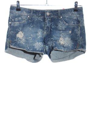 Denim Co. Shorts blau-hellgrau Blumenmuster Casual-Look