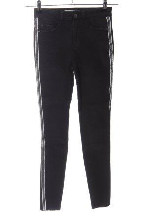 Denim Co. Skinny Jeans schwarz-weiß Streifenmuster Casual-Look