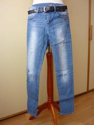 Denim Co skinny Jeans Gr. 36 34 Röhre Ripped frayed used NEUwertig hellblau Nieten risse stonewashed Löcher