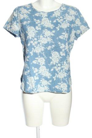 Denim Co. T-Shirt blau-weiß Blumenmuster Casual-Look