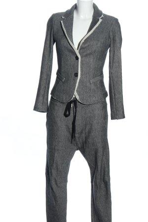 denim deluxe Trouser Suit black-white allover print extravagant style