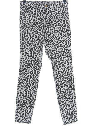 & DENIM Pantalón de cintura alta blanco-negro estampado de leopardo look casual