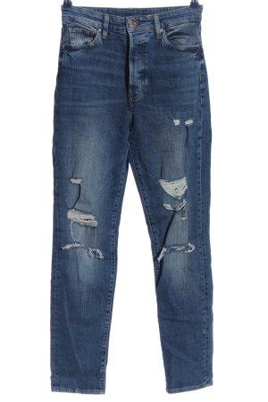 & DENIM Jeans taille haute bleu style décontracté