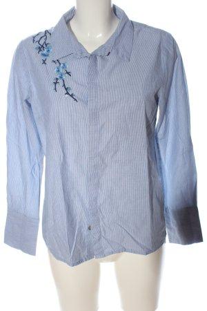 Denim Hunter Long Sleeve Shirt blue-white flower pattern business style