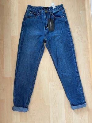 PrettyLittleThing Jeans boyfriend bleu coton