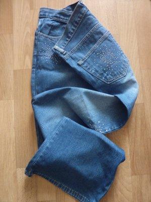 Denim Jeans mit Ziersteinbesatz Strass in blau Gr M