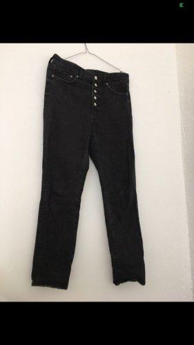 Denim jeans schwarz mit knopfdetails