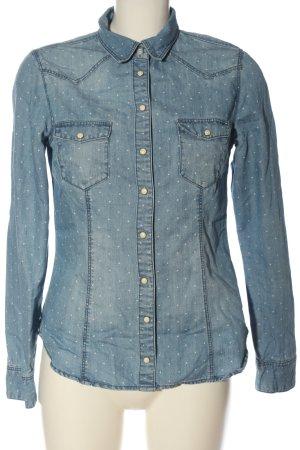 & DENIM Jeansowa koszula niebieski-biały Na całej powierzchni W stylu casual