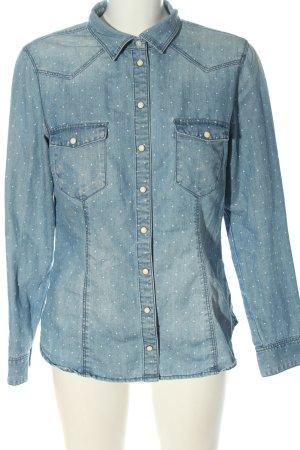 & DENIM Jeansowa koszula niebieski-biały Wzór w kropki W stylu casual