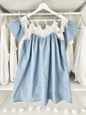 Robe courte blanc-bleu