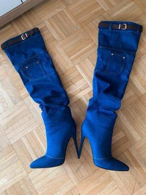 Denim Overknee Stiefel/Heels - Blue - Stiletto - Größe 36