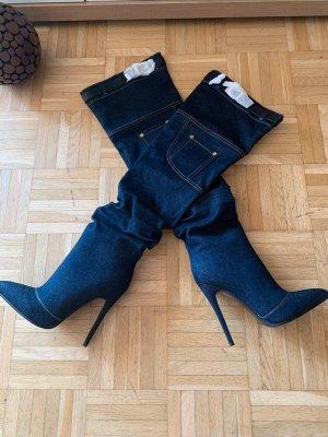 Denim Overknee Stiefel/Heels - DarkBlue - Stiletto - Größe 37