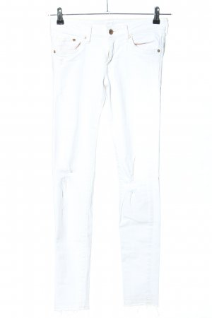 & DENIM Vaquero pitillo blanco look casual
