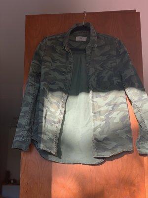 H&M Denim Shirt dark green-khaki