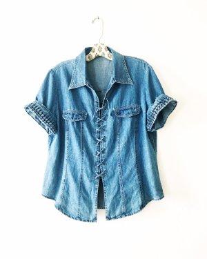 denim shirt • jeans bluse • vintage • bohostyle • hippielook • blau