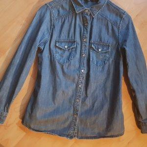 Boden Blouse en jean bleu fluo-bleu acier coton