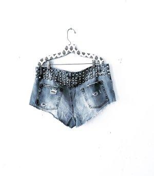 denim shirts • jeans shorts • pull & bear • blau • nieten