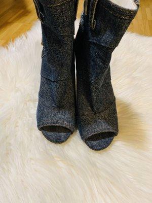 Dolce & Gabbana Peep Toe Booties dark blue