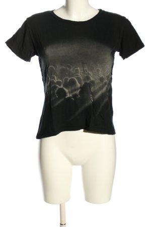 Denim & Supply Ralph Lauren Cropped Shirt schwarz-hellgrau Motivdruck