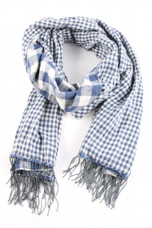 Denim & Supply Ralph Lauren Fringed Scarf blue-white check pattern casual look
