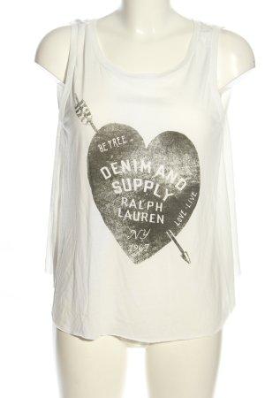 Denim & Supply Ralph Lauren Rückenfreie Top weiß-schwarz Motivdruck