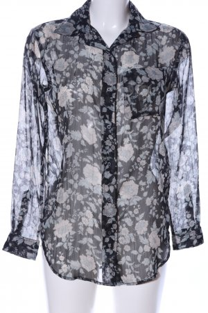 Denim & Supply Ralph Lauren Transparenz-Bluse schwarz-creme Allover-Druck