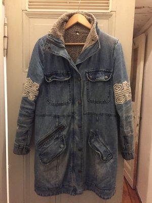 Free People Veste en jean bleu acier-blanc cassé coton
