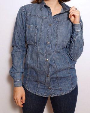 Eleven Paris Jeansowa koszula stalowy niebieski