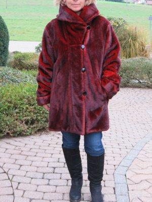 Dennis Basso Manteau en fausse fourrure rouge brique-rouge carmin acrylique