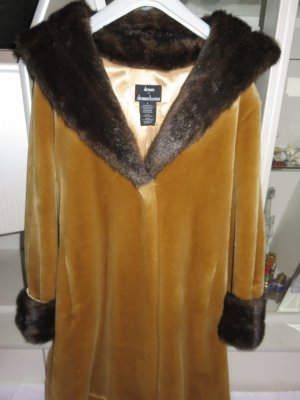 Dennis Basso Fake Fur Coat sand brown-brown mixture fibre