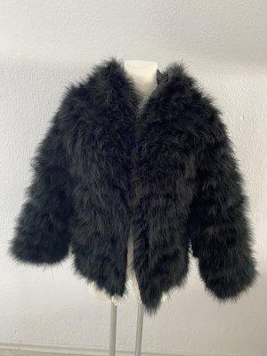Dennis Couture Feder Jacke Federjacke Kapuzen schwarz Zara schwarz Edel so miu cute 36/38