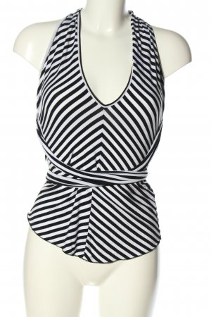 Denny Rose Off-The-Shoulder Top black-white striped pattern casual look